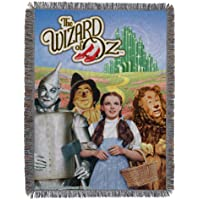 """Warner Brothers Wizard of Oz, """"Group"""" Woven Tapestry Throw Blanket, 48"""" x 60"""", Multi Color"""