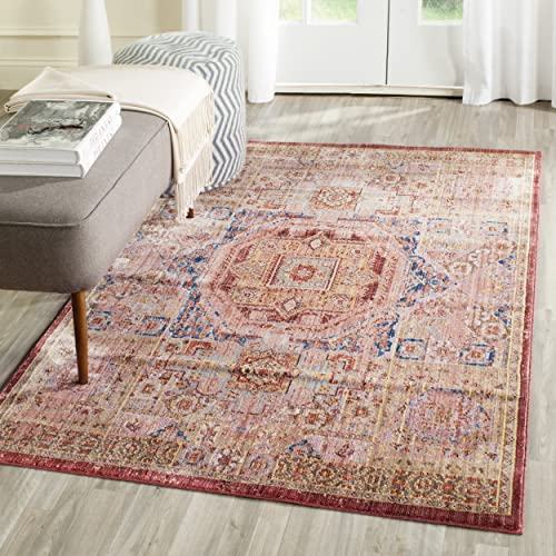 Safavieh Valencia Collection VAL216K Multicolored and Blue Distressed Center Medallion Silky Polyester Area Rug 9 x 12