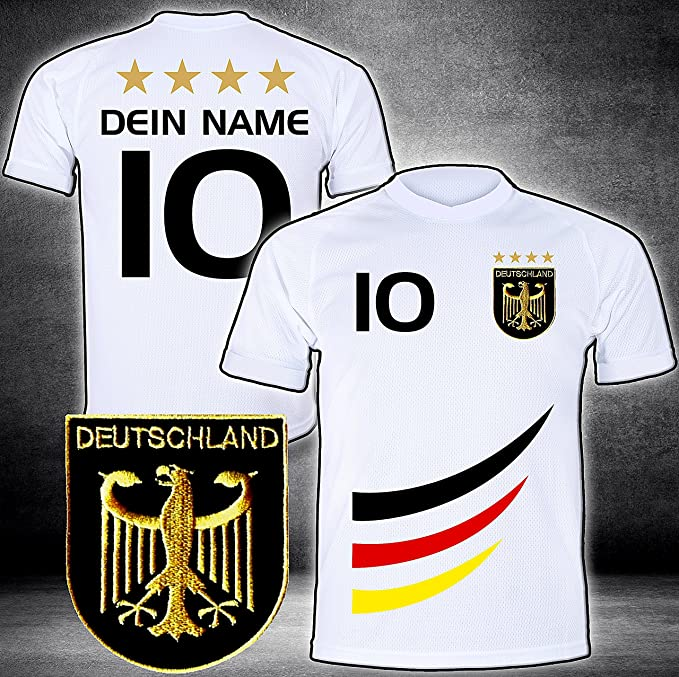 ElevenSports Deutschland Trikot mit GRATIS Wunschname + Nummer + Wappen Typ #D 2019 günstig im EM/WM Weiss - Geschenke für Ki