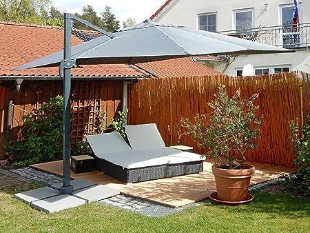 paramondo Sombrilla Parasol parapenda 4 x 3m (Rectangular/Gris) Estructura Incl. Soporte de Cruz (Antracita): Amazon.es: Jardín