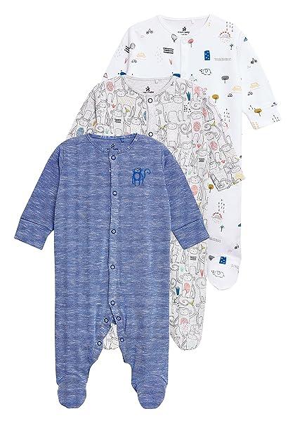 next Bebé-Niños Pack De Tres Pijamas Tipo Pelele con Estampado De Mono (0