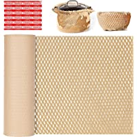 Etanllow Brown Kraft Packaging Paper for Shipping Wrapping, Eco Friendly Honeycomb Packaging Paper Roll 12 In x 98 Ft…