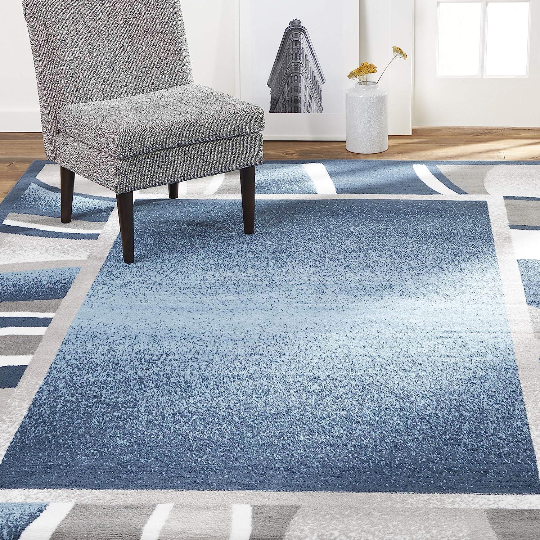 "Home Dynamix Lyndhurst Rotana Modern Area Rug, Contemporary Blue/Gray/Ivory 3'7""x5'2"""