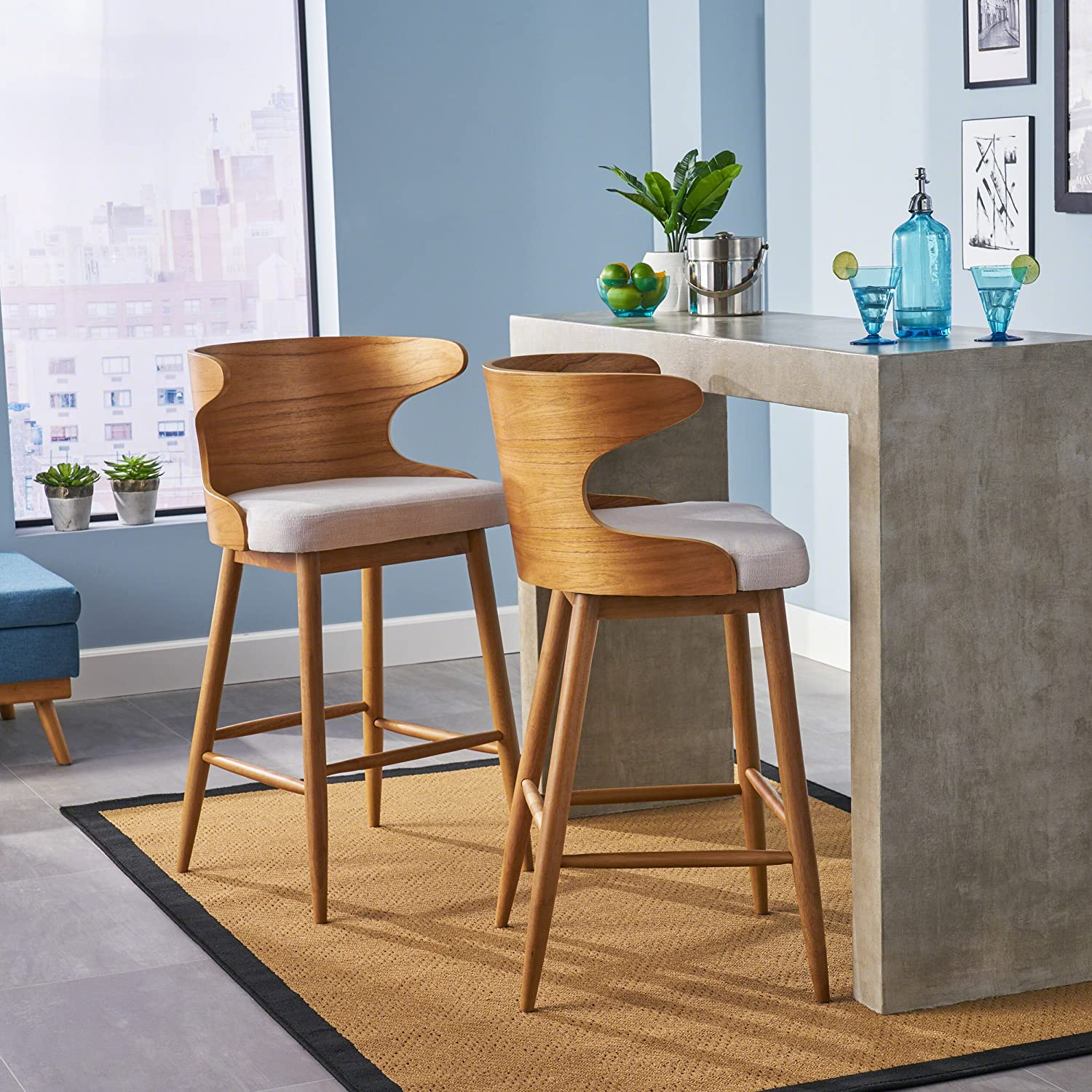 Christopher Knight Home 304583 Truda Mid Century Modern Fabric Barstools Set of 2 in Light Beige