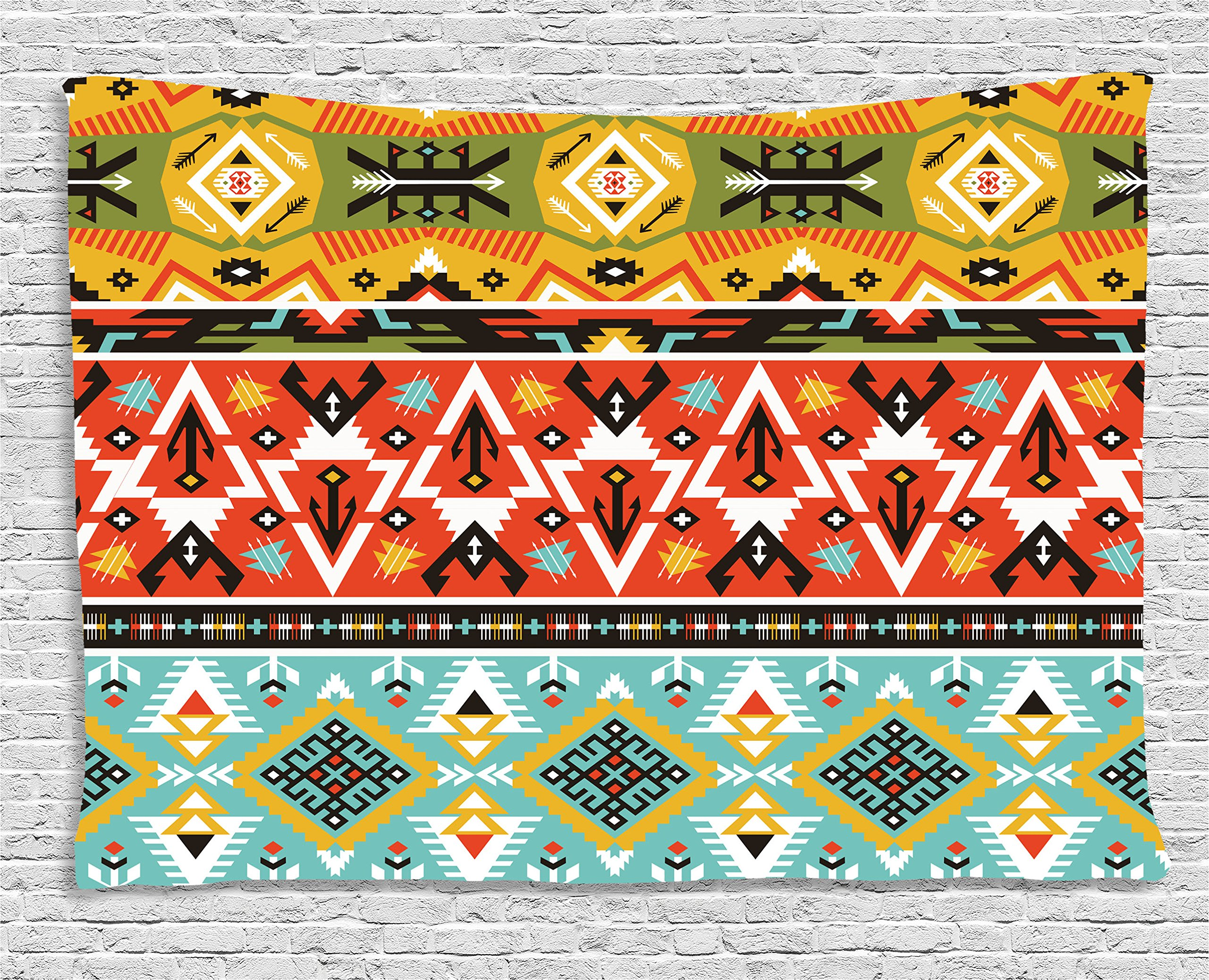 Ambesonne Tribal Tapestry, Love and Adventure Abstract Mountains Pattern with Aztec Ethnic Art Print, Wall Hanging for Bedroom Living Room Dorm, 80 W X 60 L inches, Scarlet Mustard Blue