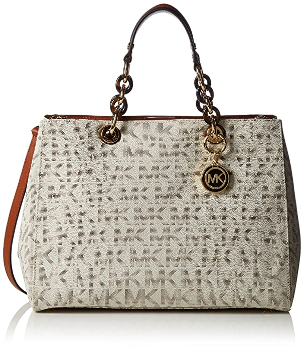 0f1cccd72e13 Amazon.com: Michael Kors Cynthia Large Satchel Vanilla Mk Signature PVC Shoulder  Bag: Shoes