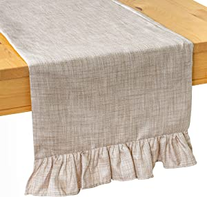The White Petals Oatmeal Coffee Table Runners (13x36 inch, Pack of 1, Ruffles Trim) Fabric Lined | Properly Finished | for Home, Kitchen, Dining Room, Holiday, Wedding Party Décor