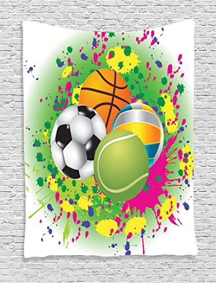 Ambesonne Sports Decor Tapestry Wall Hanging Collection Of Balls On Watercolors Splash Background Vibrant