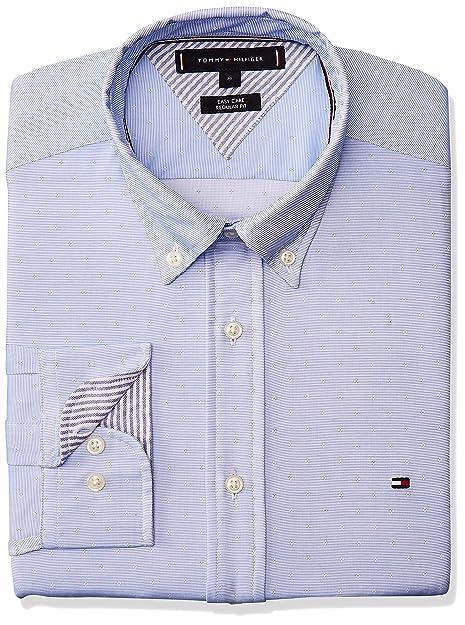 Tommy Hilfiger Camisa de Camisa Falsa Lisa, Color Liso