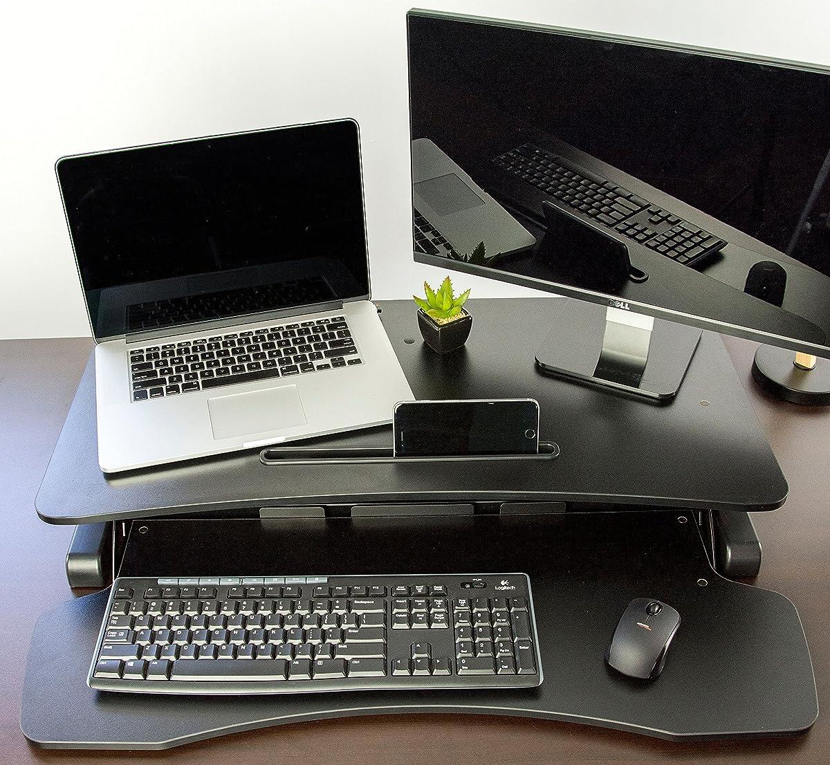 """VIVO Height Adjustable Standing Desk Sit to Stand Gas Spring Riser Converter   32"""" Wide Tabletop Workstation fits Dual Monitor (DESK-V000K)"""