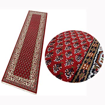 Amazon De Teppich Orient Laufer Mir Rot Cream 80x290 Cm 100 Wolle