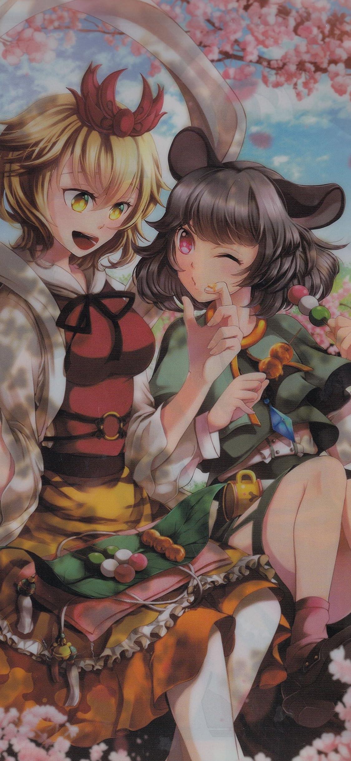 東方Project 寅丸星 & ナズーリン iPhone X 壁紙(1125x2436)画像