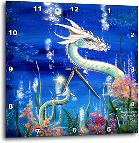 3dRose LLC Dragon Lore White Water Dragon 10 by 10-Inch Wall Clock