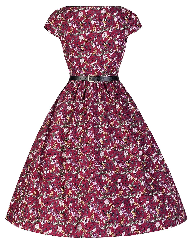 f5bb6e567963 Lindy Bop 'Tara' Vintage 50's Floral Print Classy Hepburn Inspired Dress  (14, Plum): Amazon.co.uk: Clothing