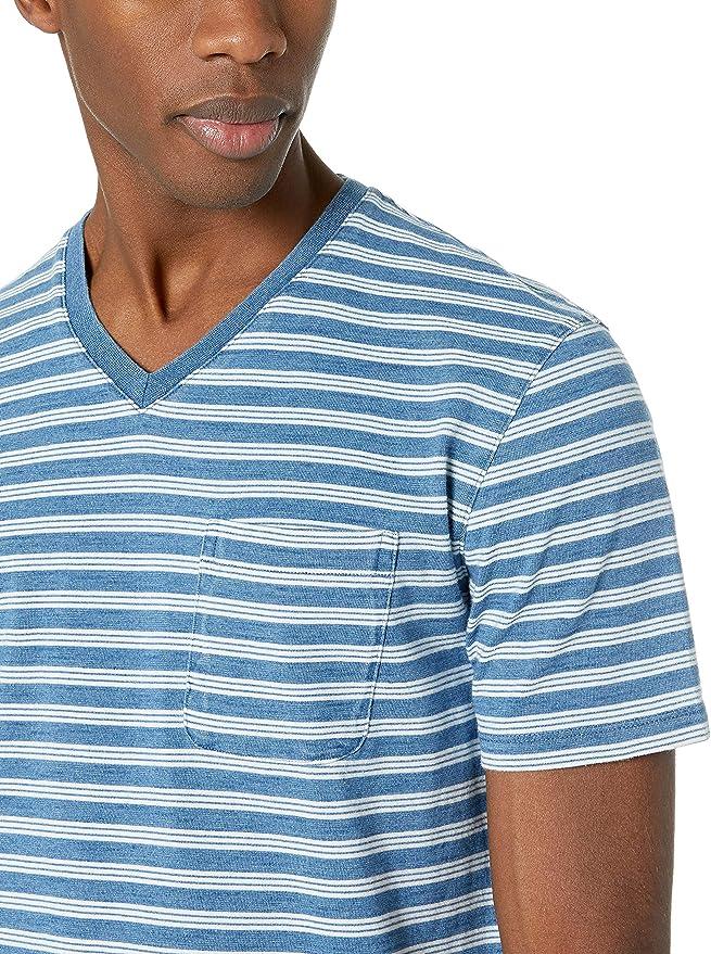 con bolsillo y cuello redondo Camiseta de manga corta para hombre color /índigo Goodthreads Marca