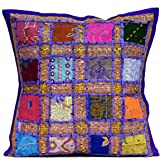 An Ethnic Embroidery Sequin Patchwork Throw Pillow Cushion Cover (Purple ) by Amazingindiaonline