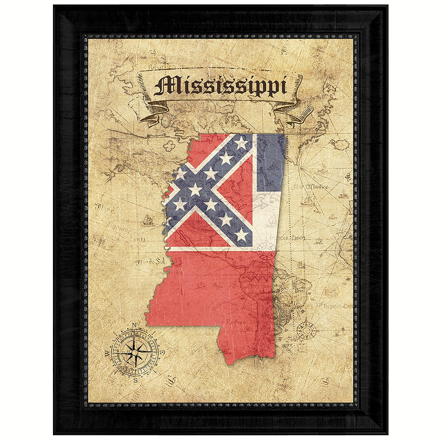 Amazon.com: Mississippi State Vintage Map Flag Canvas Print with ...