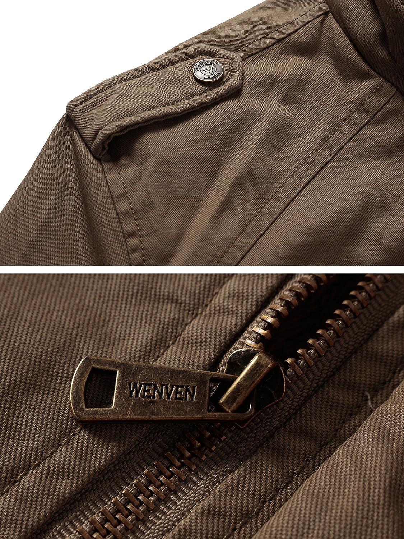 WenVen Mens Hooded Sherpa Parka Jacket