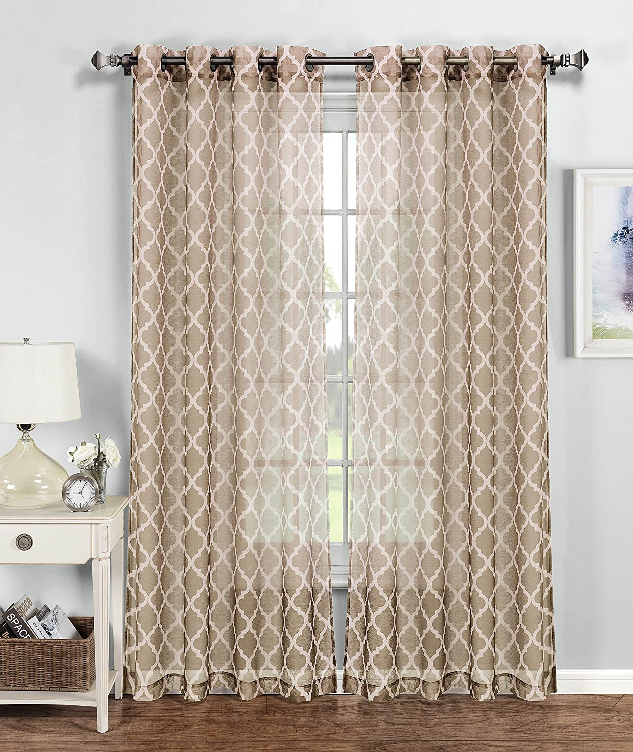 Amazon window elements quatrefoil printed sheer extra wide Beige curtains