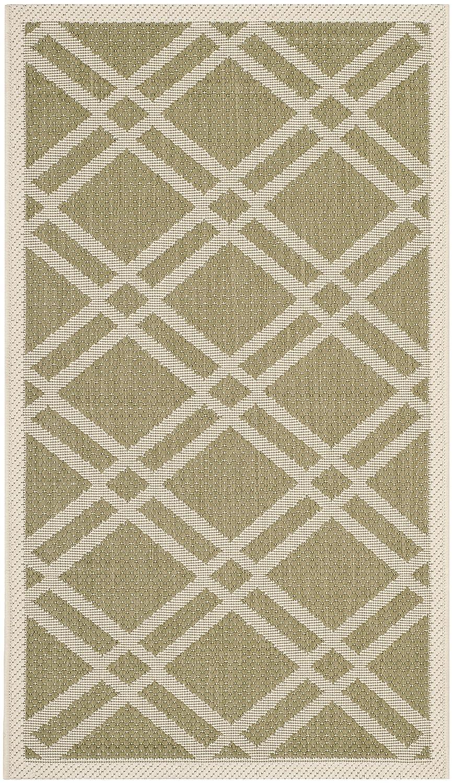 Safavieh In-und In- und Outdoorteppich, CY6923, Handgetufteter Polyester Kurvenform, Grün/Beige, 60 X 109 cm