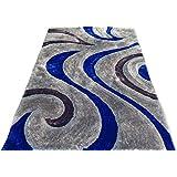 Shag Shaggy Modern Swirl Design Gray Royal Blue 5x7 Area Rug