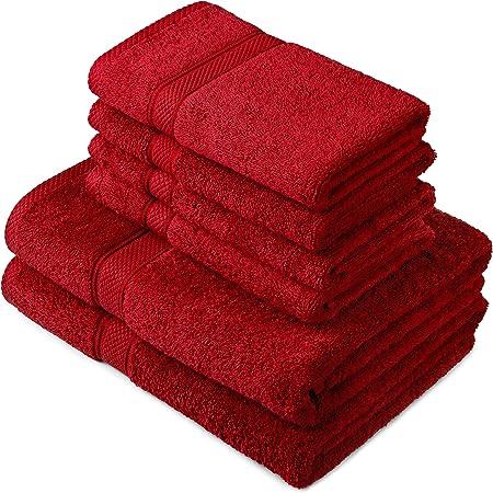Pinzon by Amazon - Juego de toallas de algodón egipcio (2 toallas de baño y 4 toallas de manos), color rojo: Amazon.es: Hogar