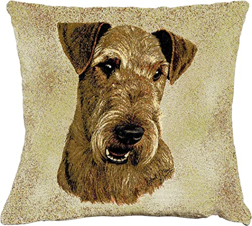 Pure Country Weavers Airedale Terrier by Robert May Hand Finished Pillow Cover Woven from Cotton – Made in The USA 17×17