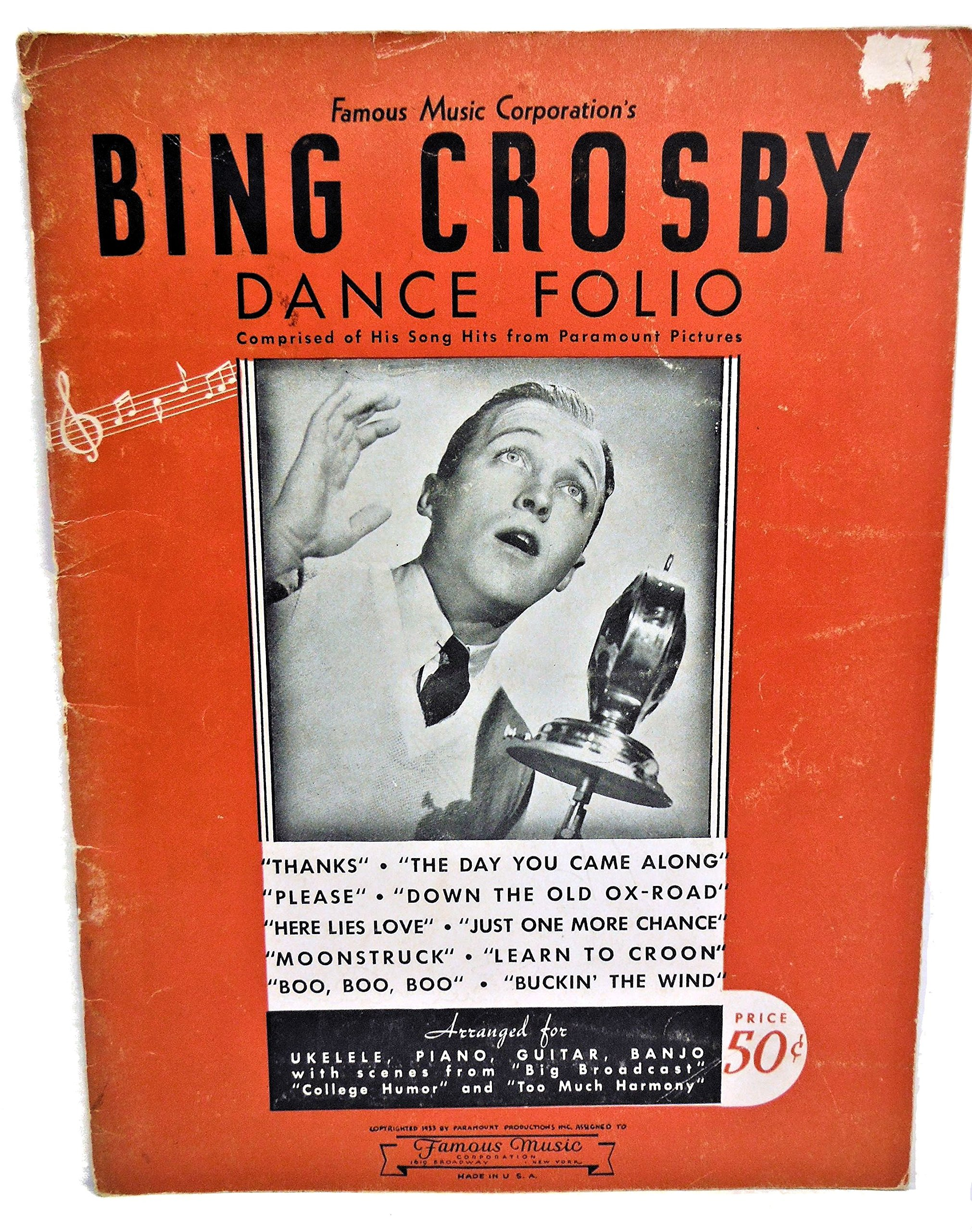 Famous Music Corporation's BING CROSBY DANCE FOLIO FOR PIANO, With Ukulele and Guitar or Banjo Accompaniment
