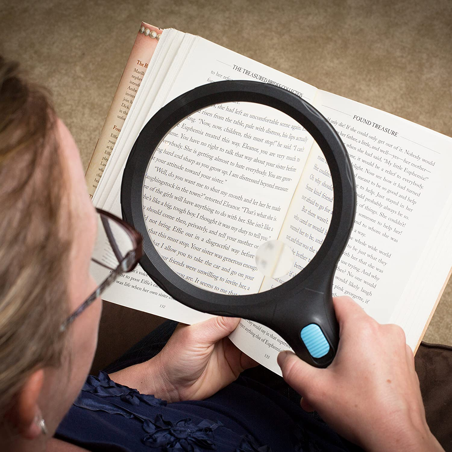 Exploring Inspecting Magnifying Glass with Extra Large Lens and Bright LED Ring Light Ideal for Reading Schools Computers and Cell Phones ThinkTeam Products TT-ML1