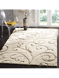 Safavieh Florida Shag Collection SG455 1113 Scrolling Vine Cream And Beige  Graceful Swirl Area Rug Part 45
