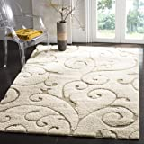 "Safavieh Florida Shag Collection SG455-1113 Scrolling Vine Cream and Beige Area Rug (5'3"" x 7'6"")"