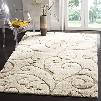 safavieh florida shag collection sg4551113 scrolling vine cream and beige area rug 4 - Safavieh Rug