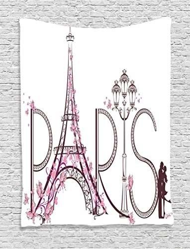 Ambesonne Paris Tapestry, Tower Eiffel with Paris Lettering Couple Trip Flowers Floral Design Print, Wall Hanging for Bedroom Living Room Dorm Decor, 40 X 60 , Pink Plum