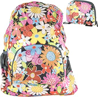 Twiga Trends Durable Lightweight Packable Backpack, Water Resistant Foldable Daypacks in Fun Prints & Colors