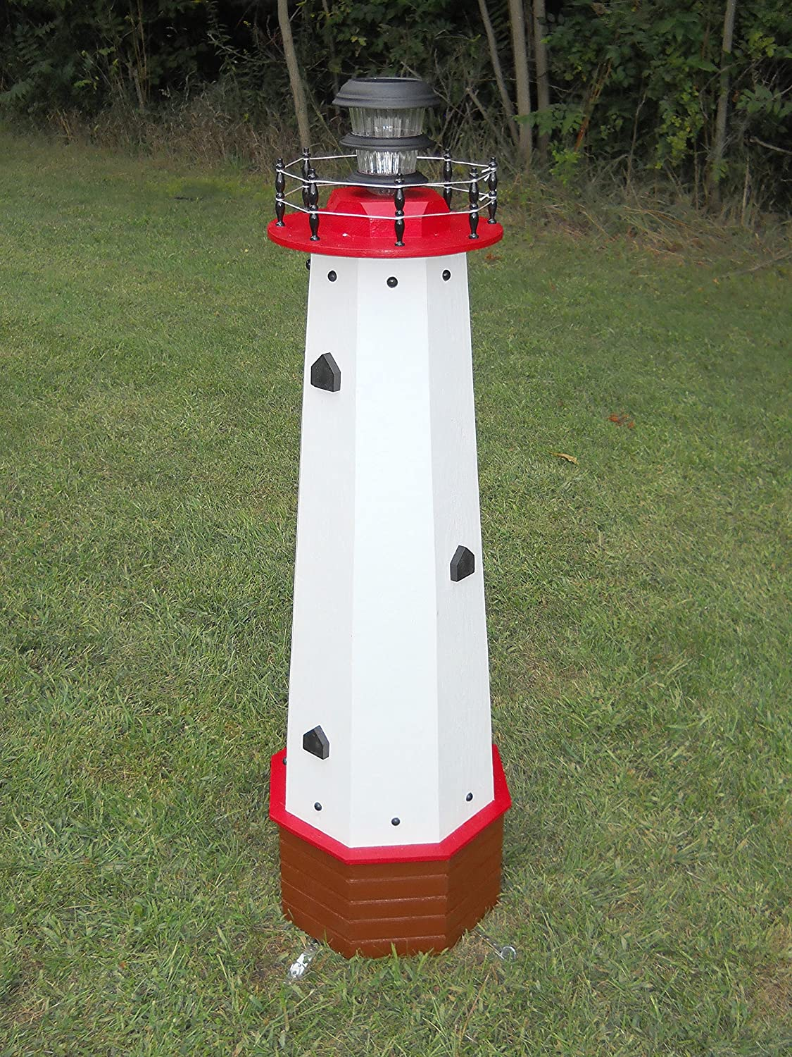 Amazon.com : Solar Lighthouse Wooden Well Pump Cover Decorative ...