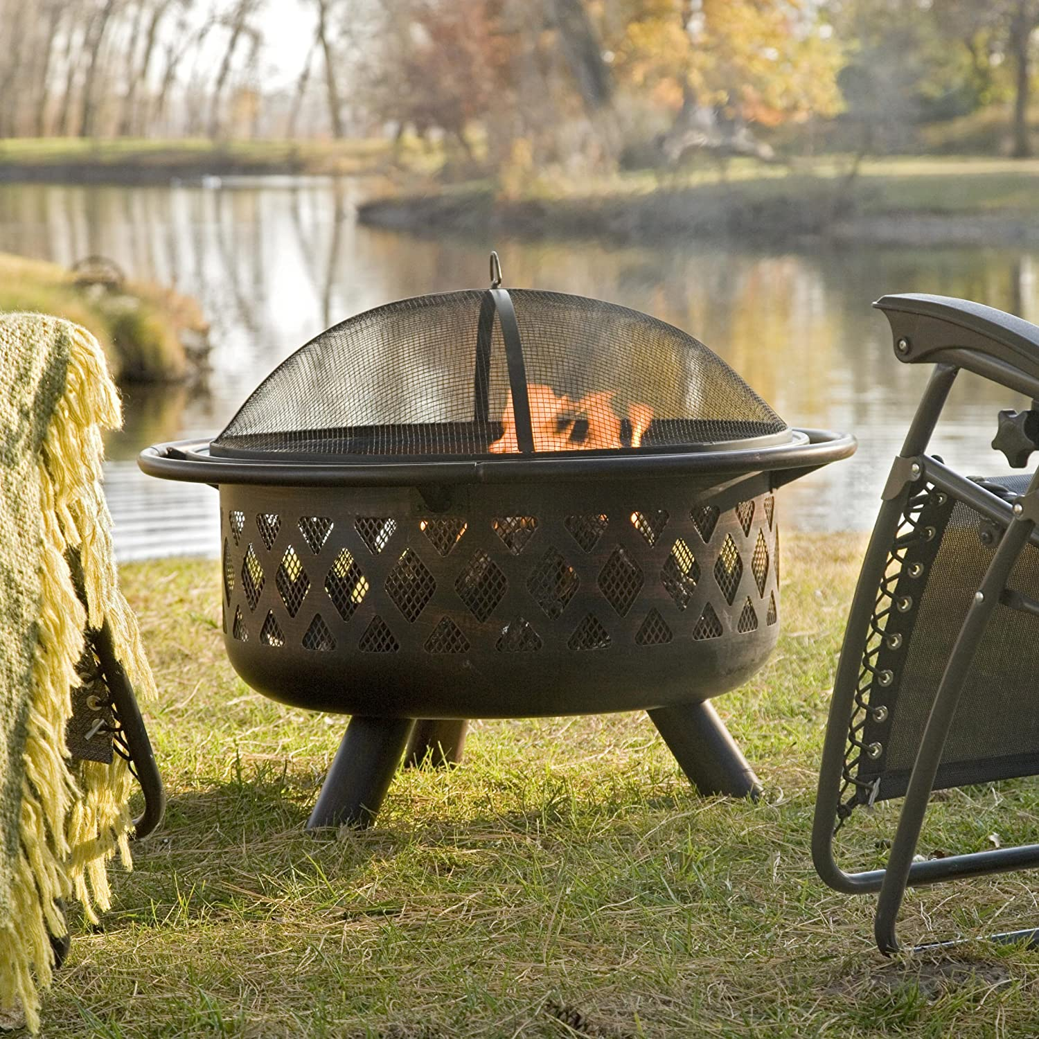 Red Ember Rubbed Bronze Crossweave 36 inch Wood Burning Fire Pit-With Free Grill Grate and Cover, Durable and Perfect for Outdoor Grill