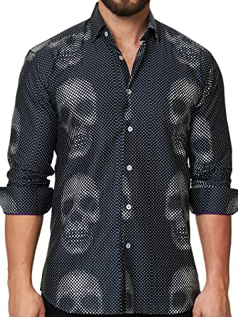 6c8b9a2c3ba01 Maceoo Mens Designer Dress Shirt - Stylish   Trendy- Luxor Funky Skull at  Amazon Men s Clothing store