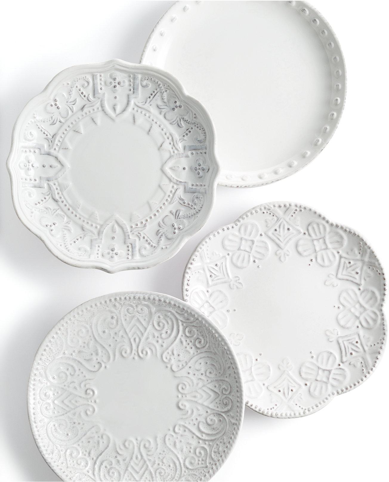 White apron macy's - Maison Versailles Blanc Set Of 4 Assorted Appetizer Plates Dinnerware Dining Entertaining