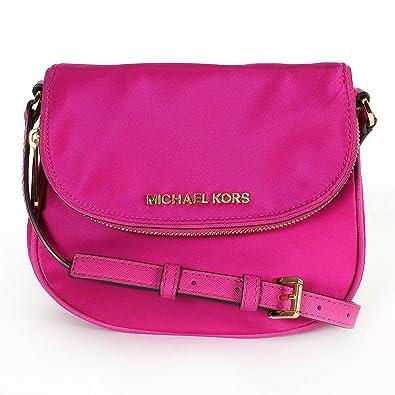 9eafeffd1adb Michael Kors Bedford Nylon Flap Crossbody Bag Fuschia: Handbags: Amazon.com