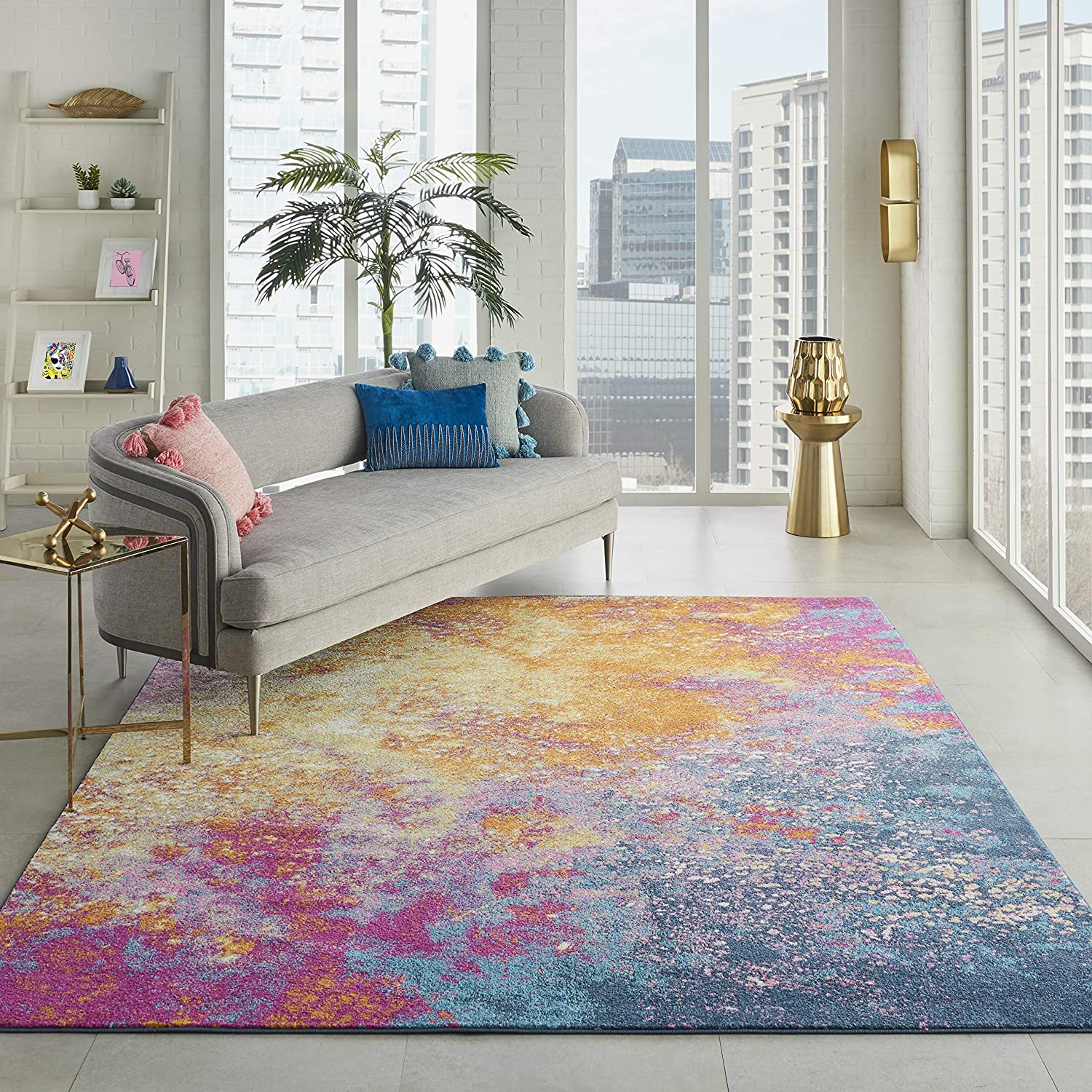 NourisonPassion Modern Abstract Colorful Sunburst Area Rug, 8' x10'