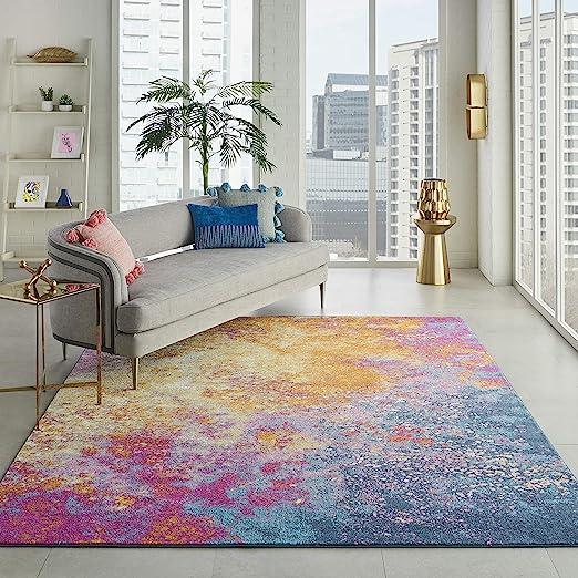Amazon Com Nourison Passion Modern Abstract Colorful Sunburst Area Rug 8 X 10 Furniture Decor