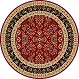 Safavieh Lyndhurst Collection LNH331B Traditional Oriental Red and Black Round Area Rug (8' Diameter)