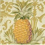 Caspari Entertaining 20-Pack Royal Pineapple Gold Luncheon Napkins