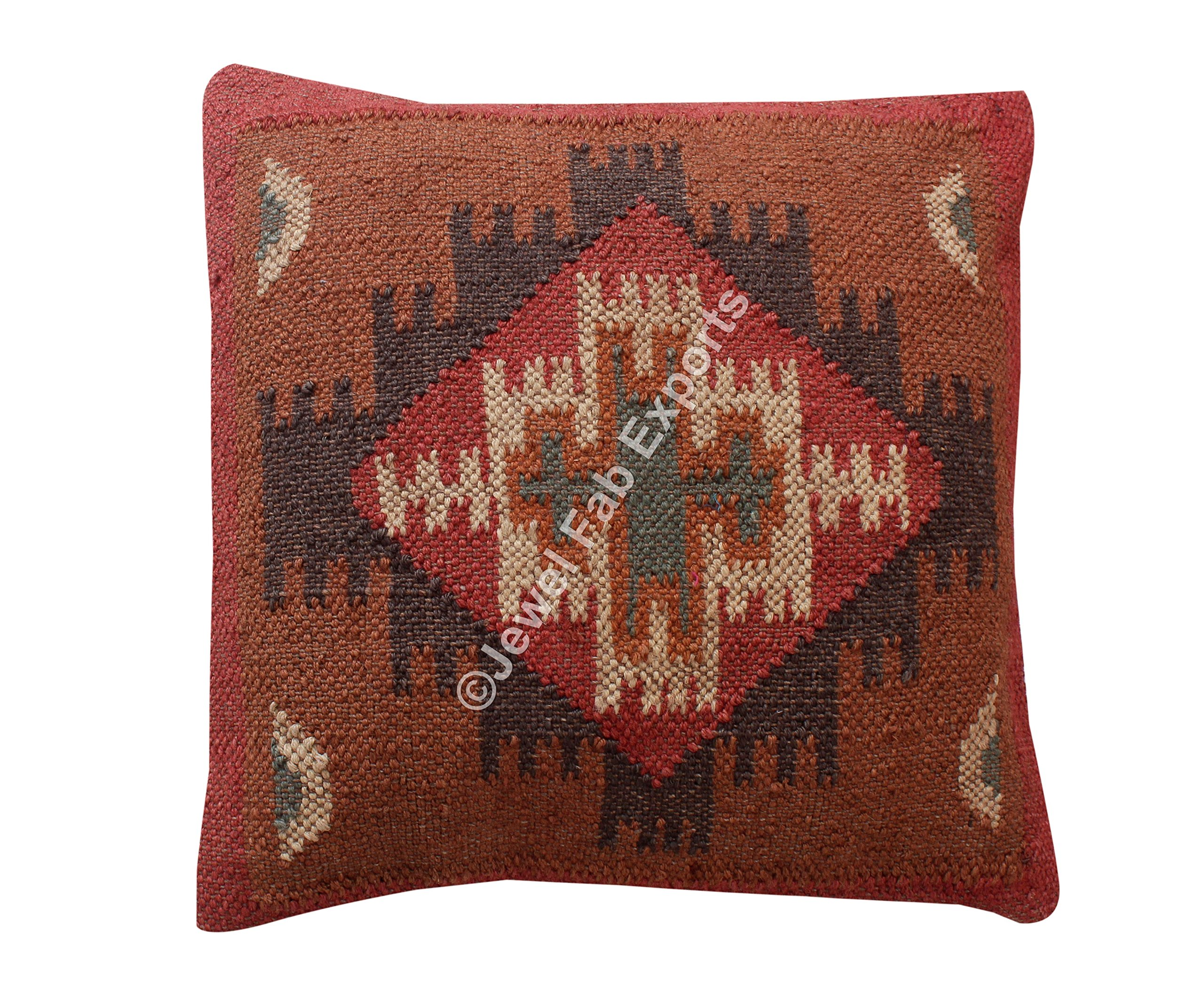 Indian Set Of 5 Jute Cushions Handwoven Kilim Pillow, Jute Euro Sham Kilim Pillow sham Jute Pillow sham Living Room Cushion Cover Jute Kilim cushion cover Hand Woven Jute Cushion cover by Jewel Fab Art