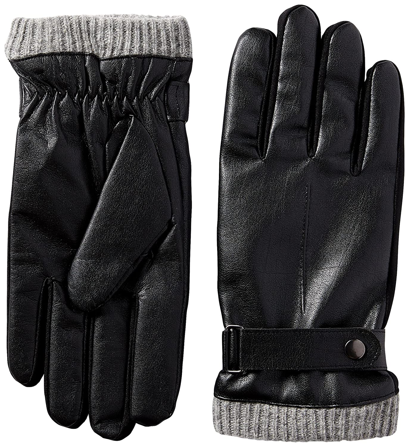 Mens gloves isotoner - Isotoner Men S Faux Leather Smartouch Gloves With Knit Cuffe Black Medium At Amazon Men S Clothing Store