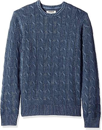 Marca Amazon - Goodthreads - Jersey de algodón suave de punto trenzado con cuello redondo para hombre: Amazon.es: Ropa y accesorios
