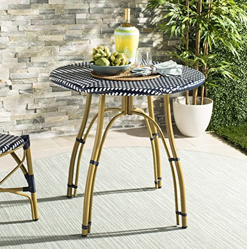 Safavieh PAT4011A Outdoor Collection Kylie Navy and White Rattan Bistro Table
