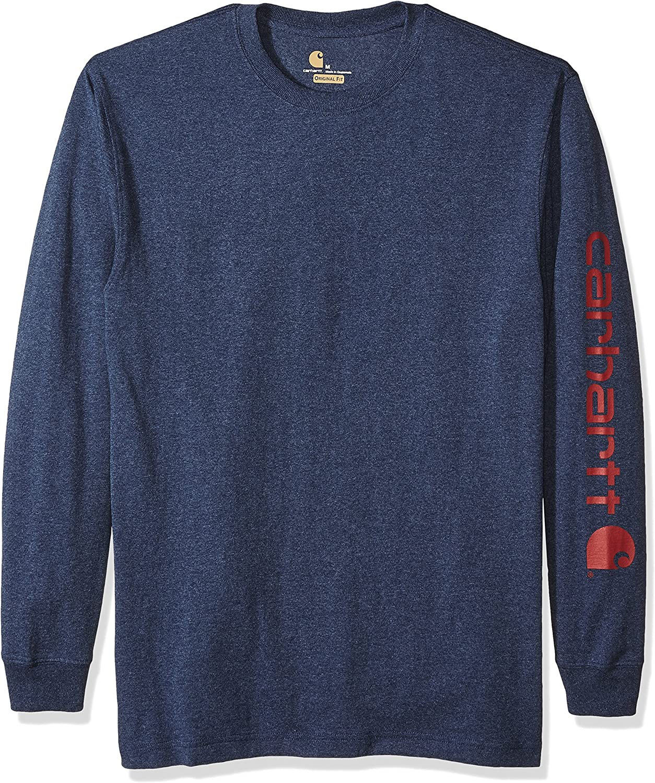 Carhartt Mens Signature Sleeve Logo Long Sleeve Shirt,Dark Cobalt Blue//Red,X-Large