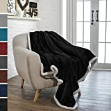 PAVILIA Premium Fleece Sherpa Throw Blanket | Super Soft, Cozy, Lightweight Microfiber, Reversible, All Season for Couch or Bed (Black, 50 x 60 Inches)