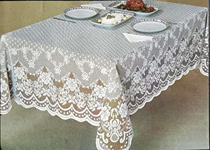 Veneza White And Ecru / Ivory Lace Tablecloth, Floral Pattern Available In  Various Sizes And